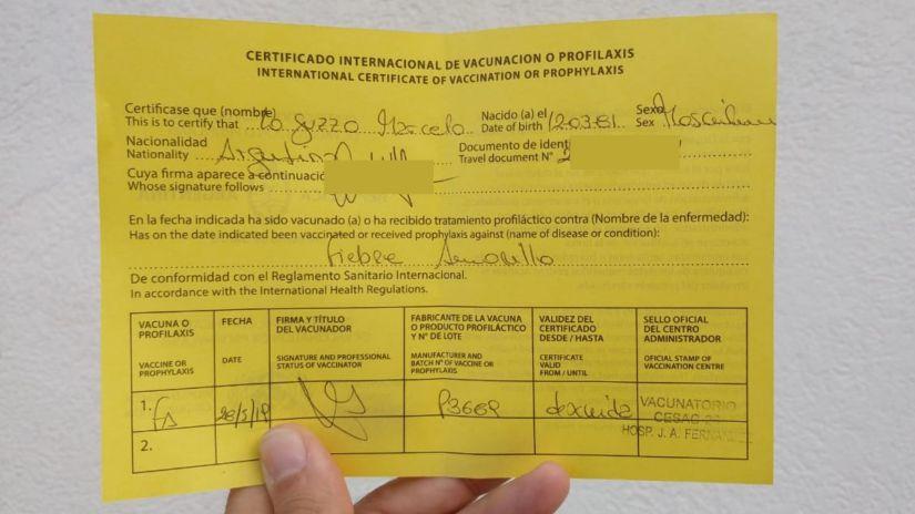 Certificado de Fiebre Amarilla.